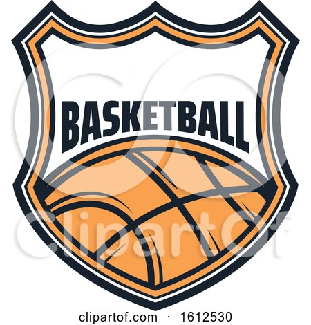 Clipart of a Baskeball Shield Design - Royalty Free Vector Illustration by Vector Tradition SM