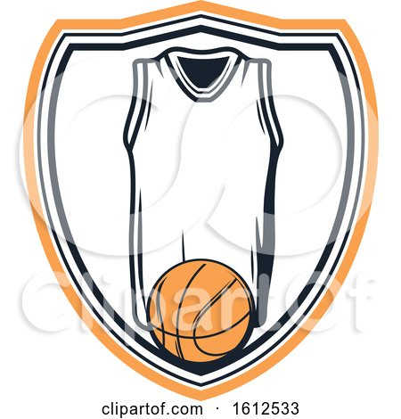 Clipart of a Baskeball and Jersey Shield Design - Royalty Free Vector Illustration by Vector Tradition SM