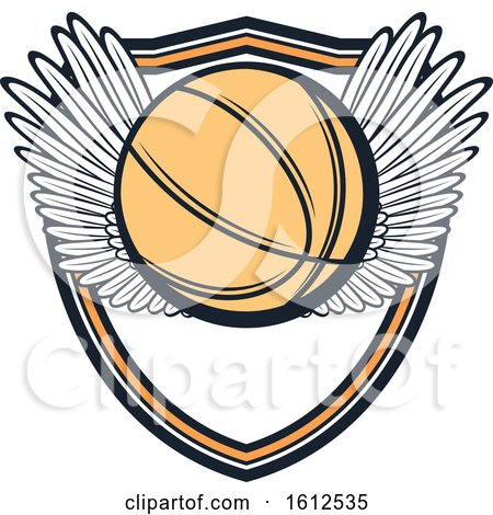 Clipart of a Winged Baskeball Shield Design - Royalty Free Vector Illustration by Vector Tradition SM