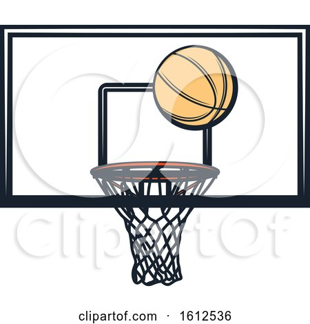 Clipart of a Baskeball and Hoop - Royalty Free Vector Illustration by Vector Tradition SM