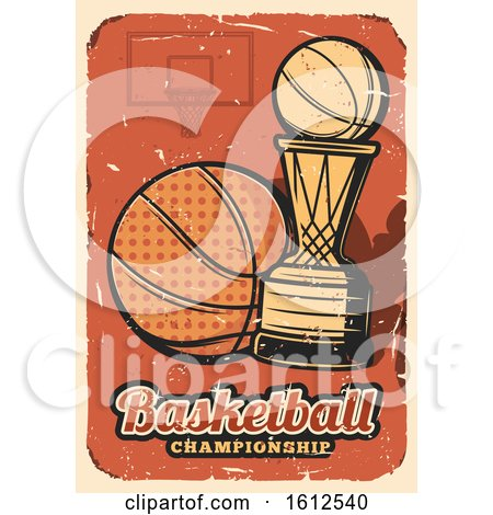 Clipart of a Distressed Baskeball Championship Design - Royalty Free Vector Illustration by Vector Tradition SM