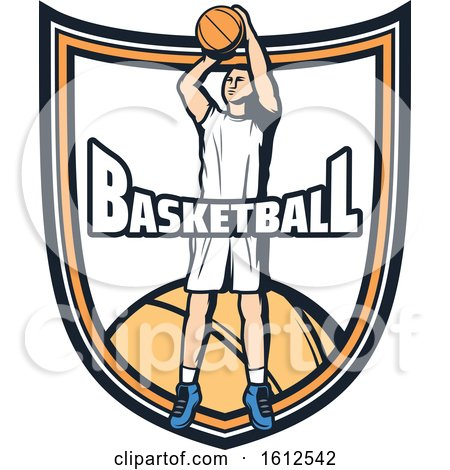 Clipart of a Baskeball Player Shield Design - Royalty Free Vector Illustration by Vector Tradition SM