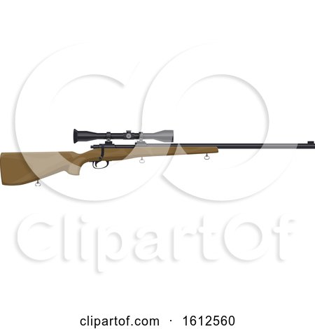 Clipart of a Hunting Rifle with a Scope - Royalty Free Vector Illustration by Vector Tradition SM