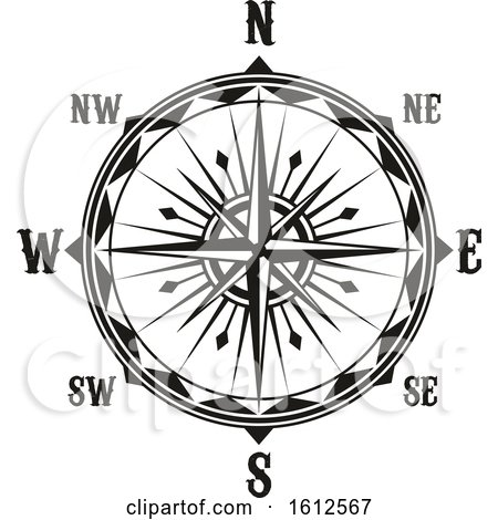 Clipart of a Black and White Compass - Royalty Free Vector Illustration by Vector Tradition SM