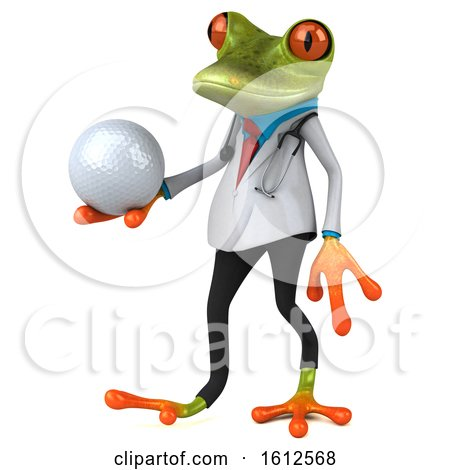 Clipart of a 3d Green Doctor Frog Holding a Golf Ball, on a White Background - Royalty Free Illustration by Julos