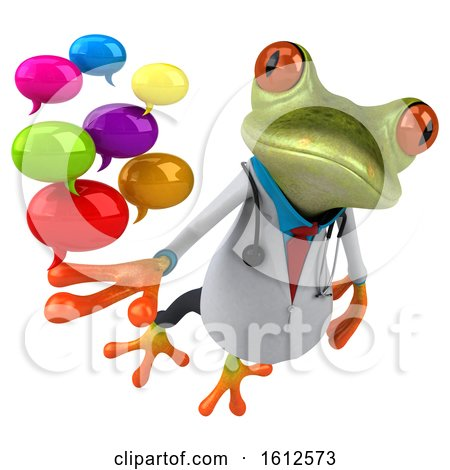 Clipart of a 3d Green Doctor Frog Holding Messages, on a White Background - Royalty Free Illustration by Julos