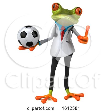 Clipart of a 3d Green Doctor Frog Holding a Soccer Ball, on a White Background - Royalty Free Illustration by Julos