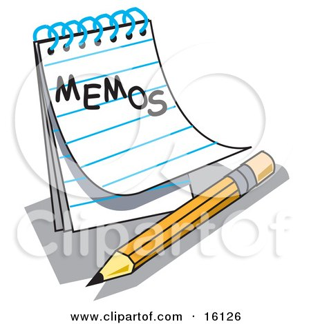 """Notepad With Lined Pages With """"Memos"""" Written On The Front, Resting By A Yellow Number Two Pencil With An Eraser Clipart Illustration by Andy Nortnik"""