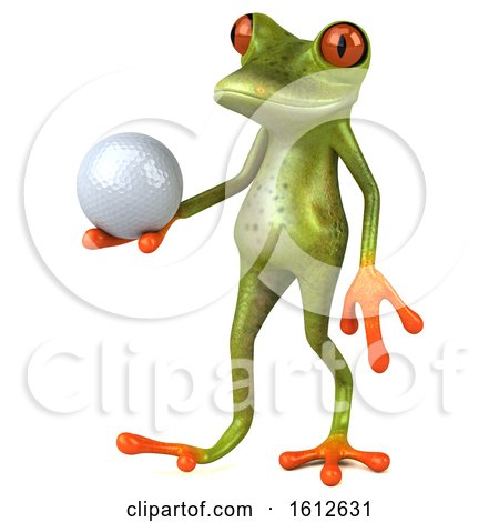Clipart of a 3d Green Frog Holding a Golf Ball, on a White Background - Royalty Free Illustration by Julos
