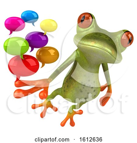 Clipart of a 3d Green Frog Holding Messages, on a White Background - Royalty Free Illustration by Julos
