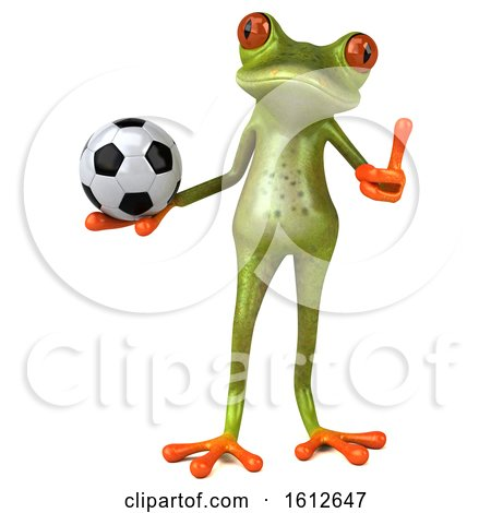Clipart of a 3d Green Frog Holding a Soccer Ball, on a White Background - Royalty Free Illustration by Julos