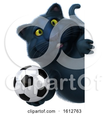 Clipart of a 3d Black Kitty Cat Holding a Soccer Ball, on a White Background - Royalty Free Illustration by Julos
