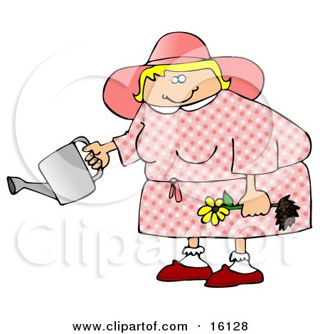 Chubby Blond Woman In Pink, Holding A Yellow Daisy And A Watering Can Posters, Art Prints