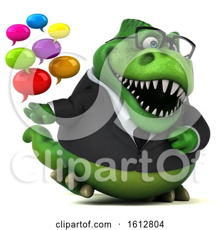 Clipart of a 3d Green Business T Rex Dinosaur Holding Messages, on a White Background - Royalty Free Illustration by Julos