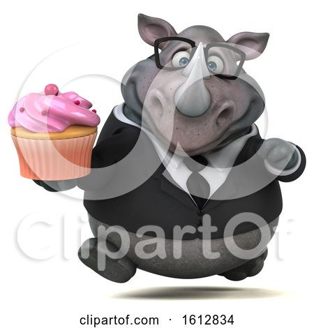 Clipart of a 3d Business Rhinoceros Holding a Cupcake, on a White Background - Royalty Free Illustration by Julos