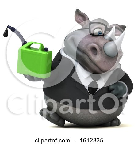 Clipart of a 3d Business Rhinoceros Holding a Gas Can, on a White Background - Royalty Free Illustration by Julos