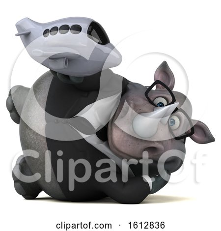 Clipart of a 3d Business Rhinoceros Holding a Plane, on a White Background - Royalty Free Illustration by Julos