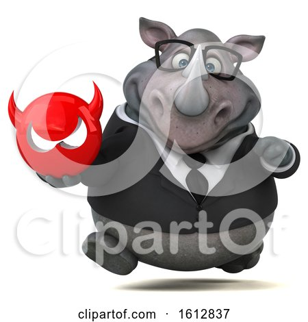 Clipart of a 3d Business Rhinoceros Holding a Devil, on a White Background - Royalty Free Illustration by Julos