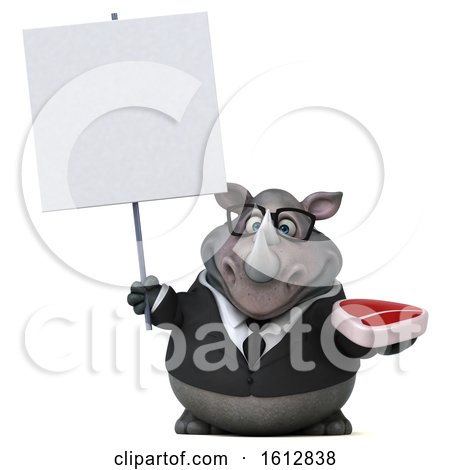 Clipart of a 3d Business Rhinoceros Holding a Steak, on a White Background - Royalty Free Illustration by Julos
