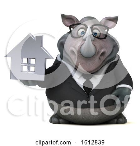 Clipart of a 3d Business Rhinoceros Holding a House, on a White Background - Royalty Free Illustration by Julos