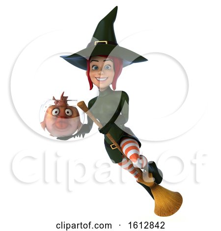 Clipart of a 3d Sexy Green Witch Holding a Fish Bowl, on a White Background - Royalty Free Illustration by Julos