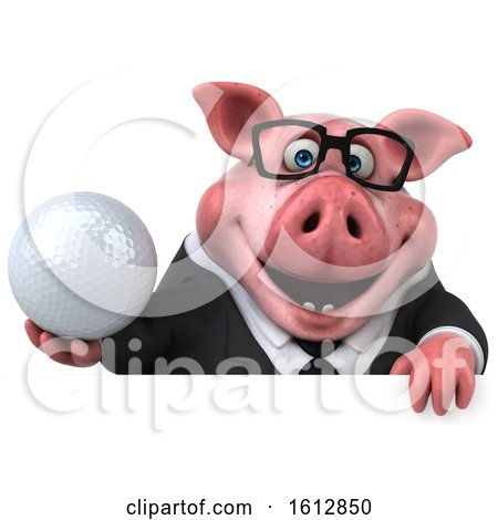 Clipart of a 3d Chubby Business Pig Holding a Golf Ball, on a White Background - Royalty Free Illustration by Julos