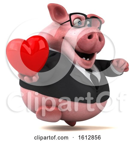 Clipart of a 3d Chubby Business Pig Holding a Heart, on a White Background - Royalty Free Illustration by Julos