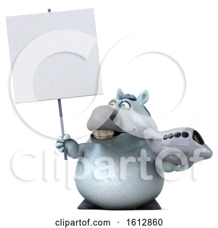 Clipart of a 3d Chubby White Horse Holding a Plane, on a White Background - Royalty Free Illustration by Julos