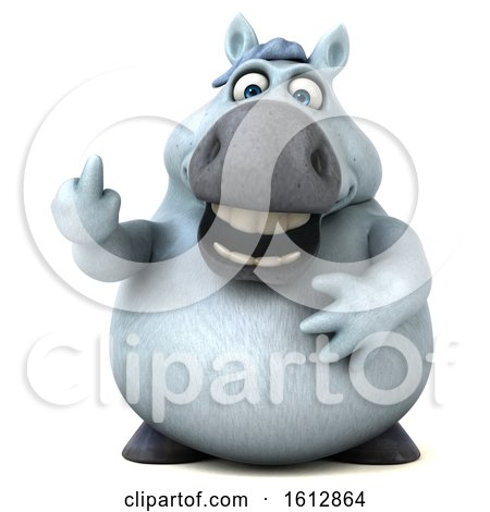 Clipart of a 3d Chubby White Horse Holding up a Middle Finger, on a White Background - Royalty Free Illustration by Julos
