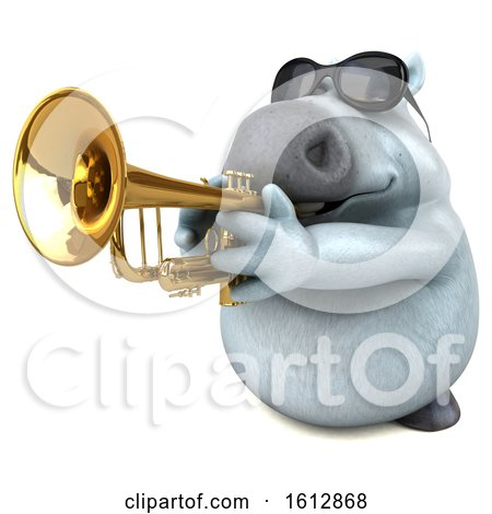 Clipart of a 3d Chubby White Horse Playing a Trumpet, on a White Background - Royalty Free Illustration by Julos