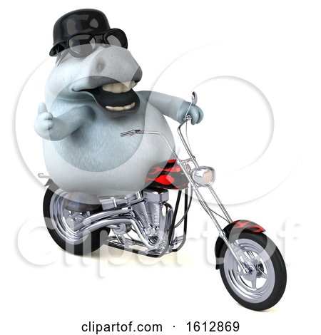 Clipart of a 3d Chubby White Horse Biker Riding a Chopper Motorcycle, on a White Background - Royalty Free Illustration by Julos