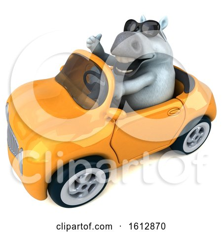Clipart of a 3d Chubby White Horse Driving a Convertible, on a White Background - Royalty Free Illustration by Julos
