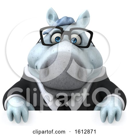 Clipart of a 3d Chubby White Business Horse over a Sign, on a White Background - Royalty Free Illustration by Julos