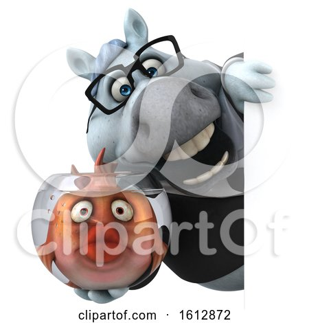 Clipart of a 3d Chubby White Business Horse Holding a Fish Bowl, on a White Background - Royalty Free Illustration by Julos