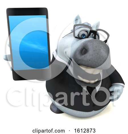 Clipart of a 3d Chubby White Business Horse Holding a Cell Phone, on a White Background - Royalty Free Illustration by Julos