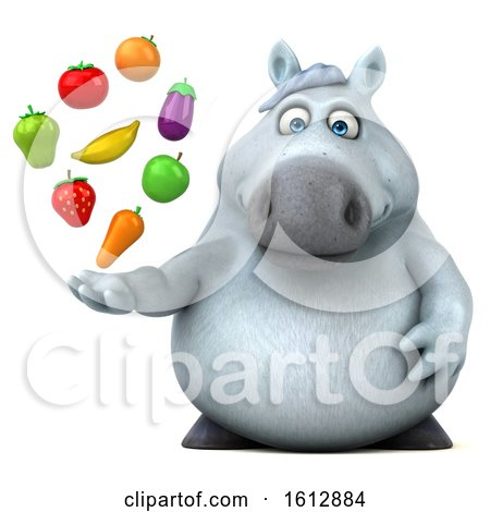 Clipart of a 3d Chubby White Horse Holding Produce, on a White Background - Royalty Free Illustration by Julos
