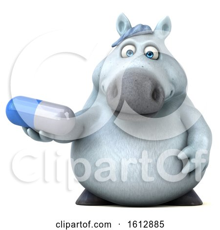 Clipart of a 3d Chubby White Horse Holding a Pill, on a White Background - Royalty Free Illustration by Julos