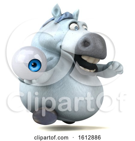 Clipart of a 3d Chubby White Horse Holding an Eyeball, on a White Background - Royalty Free Illustration by Julos
