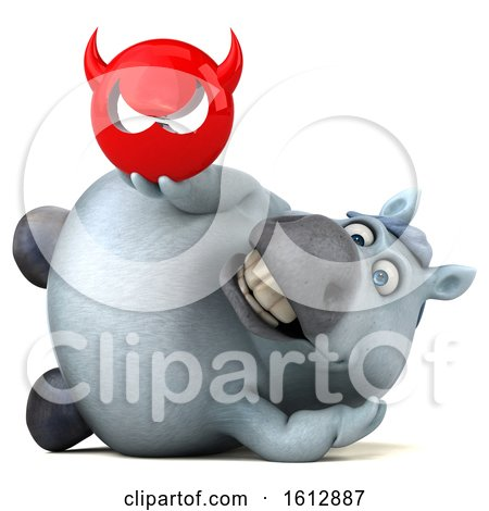 Clipart of a 3d Chubby White Horse Holding a Devil, on a White Background - Royalty Free Illustration by Julos