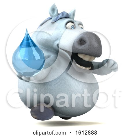 Clipart of a 3d Chubby White Horse Holding a Water Drop, on a White Background - Royalty Free Illustration by Julos
