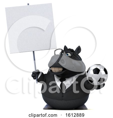 Clipart of a 3d Chubby Black Business Horse Holding a Soccer Ball, on a White Background - Royalty Free Illustration by Julos
