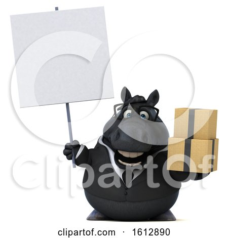 Clipart of a 3d Chubby Black Business Horse Holding Boxes, on a White Background - Royalty Free Illustration by Julos