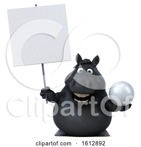 Clipart of a 3d Chubby Black Horse Holding a Golf Ball, on a White Background - Royalty Free Illustration by Julos