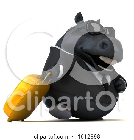 Clipart of a 3d Chubby Black Business Horse Traveler, on a White Background - Royalty Free Illustration by Julos