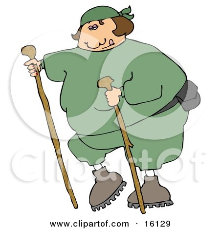 Overweight Woman In Green Sweats, Wearing A Fanny Pack And Using Two Hiking Sticks While Being A Good Sport About Exercising Clipart Illustration by djart