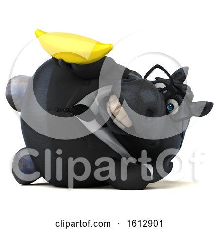 Clipart of a 3d Chubby Black Business Horse Holding a Banana, on a White Background - Royalty Free Illustration by Julos