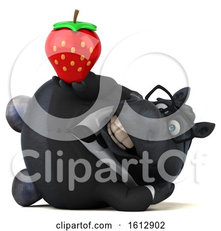 Clipart of a 3d Chubby Black Business Horse Holding a Strawberry, on a White Background - Royalty Free Illustration by Julos
