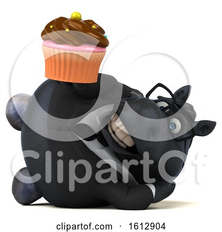 Clipart of a 3d Chubby Black Business Horse Holding a Cupcake, on a White Background - Royalty Free Illustration by Julos
