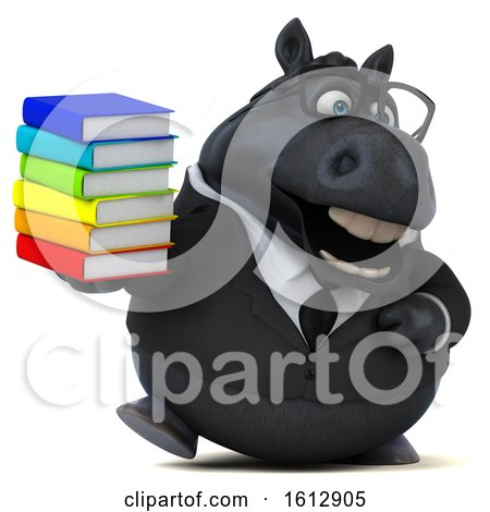 Clipart of a 3d Chubby Black Business Horse Holding Books, on a White Background - Royalty Free Illustration by Julos