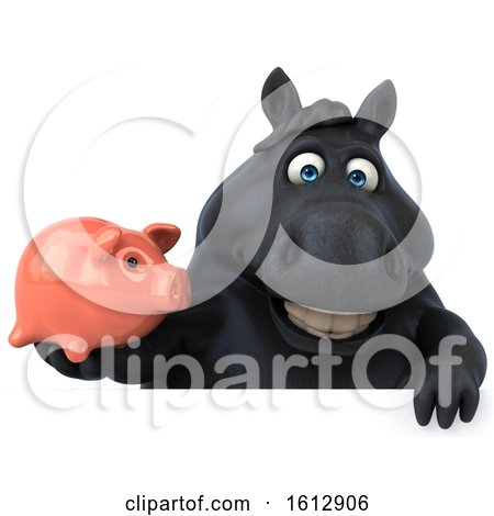 Clipart of a 3d Chubby Black Horse Holding a Piggy Bank, on a White Background - Royalty Free Illustration by Julos